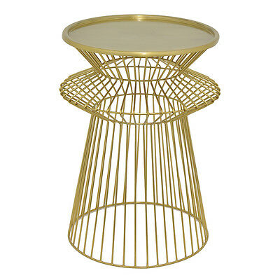 Three Hands Modern Round Gold Metal Accent Table