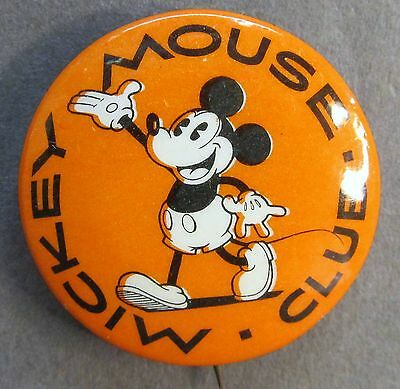 1928-1930 Disney MICKEY MOUSE CLUB celluloid pinback button with back paper