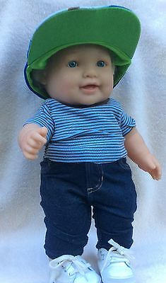 "Berenguer Toddler 16"" Boy Doll Lots to Love 27-05 with Ball Hat& Baby Blue Eyes"