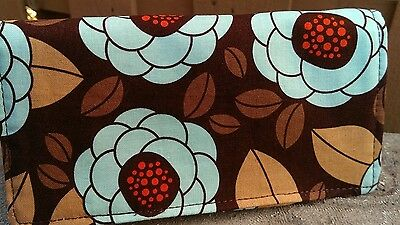 Handmade Fabric Checkbook Cover - Large Floral print on Brown background