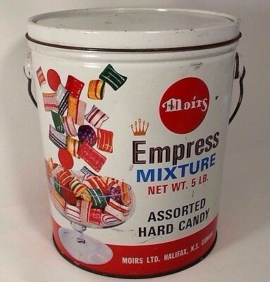 Moirs Empress Mixture Hard Candy Mix Tin Halifax Nova Scotia Vintage Bucket