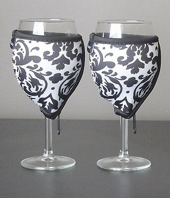 White Vintage wine glass coolers x 2