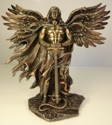 Six Winged Seraphim Guardian Angel W Serpent Sculpture Statue Bronze Finish