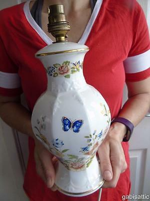 """Aynsley Cottage Garden Large Embossed Octagonal Table Bedside Lamp & Switch 12"""""""