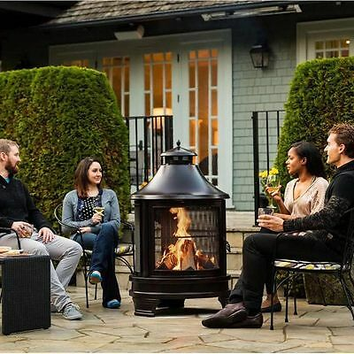 Outdoor BBQ Set Garden Barbeque Grill Steel Patio Heater Wood Burning Fire Pit