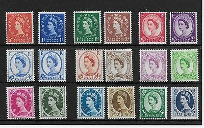 1958 Qeii Wilding Definitives - Complete Crowns  Set Of Of 18 Mnh Stamps