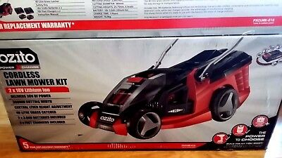 Ozito 18V Cordless Lawnmower with 2 x 3.0 Ah Li-ion Batteries & 2 x Fast Charger