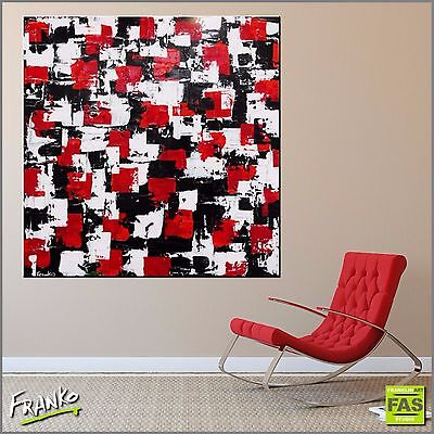 Black Red Abstract Art Painting Textured Canvas 120cm x 120cm Franko Australia