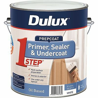 DULUX  4 litre PREP1ST STEP OIL/BASE PRIMER-SEALER-UNDERCOAT WHITE colour paint