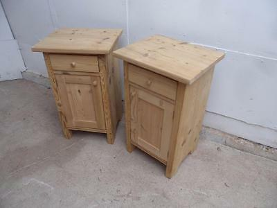 A Superb Pair of Antique Pine Small Bedside Cabinets/ Lamp Tables to Wax/Paint