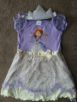 Sofia The First Girls Nightdress And Crown Age 2-3y, 3-4y,