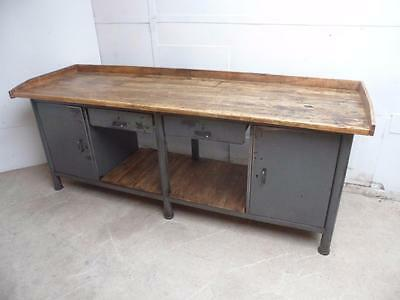 A Totally Amazing Battleship Grey Industrial Antique Pine Kitchen Dresser Base