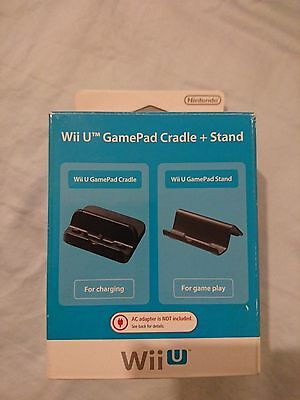 Brand new Genuine Official Wii U GamePad Cradle + Stand (Black) Aus Stock