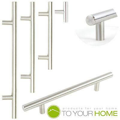 T Bar Brushed Steel Kitchen Cupboard Cabinet Drawer Door Handles 3 Sizes