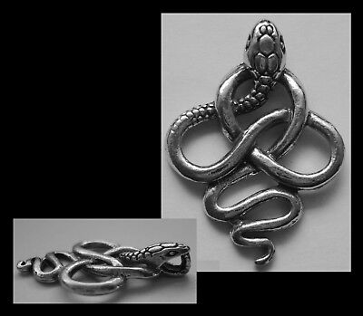 PEWTER CHARM #163 SNAKE KNOT 1 bail 25mm x 35mm COBRA
