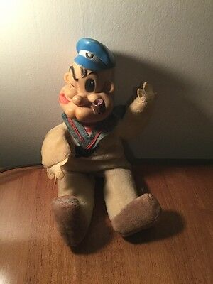 Vintage Japan Woolkin Popeye Antique Doll Rubber And Cloth