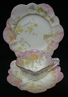 ANTIQUE Wileman (Shelley) Empire shape Kensington tea cup trio
