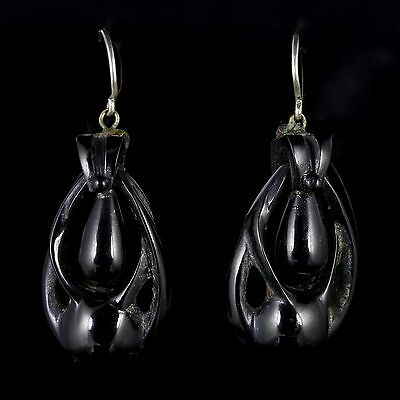 Antique Victorian Whitby Jet Earrings Circa 1860