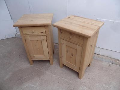 A Lovely Pair of Antique Pine Small Bedside Cabinets/ Lamp Tables to Wax/Paint