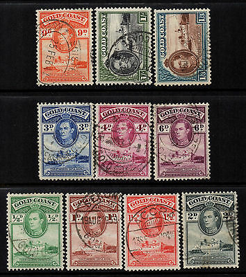 Gold Coast 1938/43 KGVI to 1/3 (10) - Perf 12 - SG 120/129 - Used