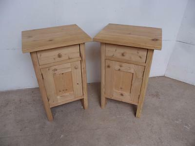 A Superb Pair of Antique Pine Small Bedside Cabinets to Wax/Paint
