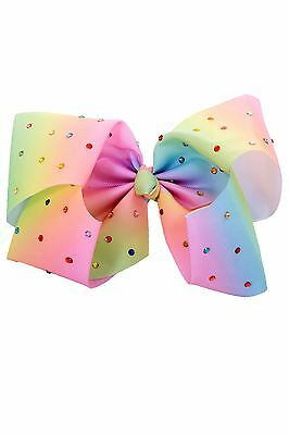 Ladies Pastel Multicolour Diamante Ribbon Hair Clip Large Girls Grosgrain Bow