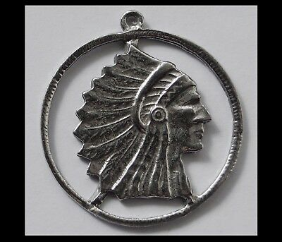 PEWTER CHARM #198 NATIVE AMERICAN INDIAN CHIEF circle 35mm x 38mm