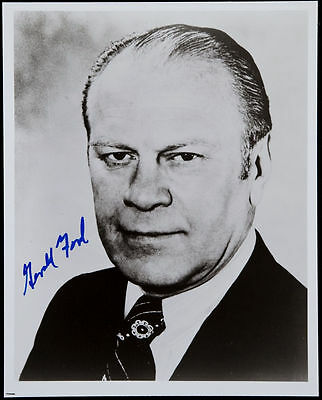 PRESIDENT GERALD FORD AUTOGRAPHED 8x10 PHOTO SIGNED WITH BLUE SHARPIE PEN PSA