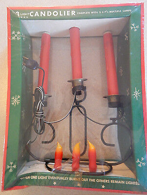 Vintage Wrought Iron Candolier Christmas Decoration 3 Candle Flame Bulbs Light