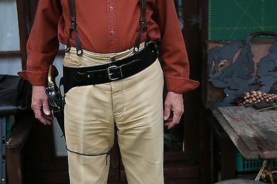 Western Cowboy Texas Fast Draw Black Leather Holster And Belt