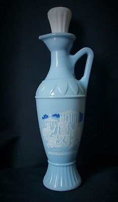 Vintage Socrates Plato Aristotle Greek Scene Blue Vase, oil bottle decanter BLUE