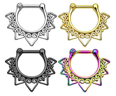 New Colour Plated Stainless Steel Heart Tribal Fan Nose Hoop Septum Clicker 16g