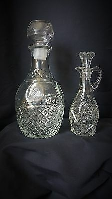 2 Vintage Clear Crystal Cut Glass Small & Large Decanters w/ Stopper wine or oil