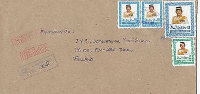 Brunei 1997 SALAMBIGAR rubber registration label on cover to Finland