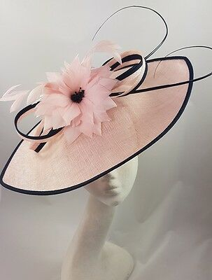 Pink Navy Nigel Rayment Hat Fascinator Disc Ascot Wedding Mother of the Bride