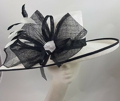 White Black Nigel Rayment Hat Fascinator Disc Ascot Wedding Mother of the Bride