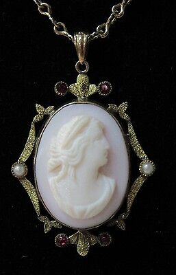 """Vintage Pink Cameo Pendant with Seed Pearls & Garnets Necklace on a """"1928"""" Chain"""