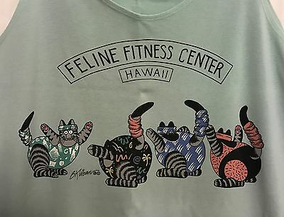 Crazy Shirts Kliban Feline Fitness Center Hawaii Womens Tank Top Rare Pre-Owned