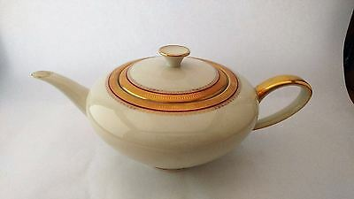 PT Tirschenreuth 2765 TIR713 Large Gold Encrusted Teapot With Red Band