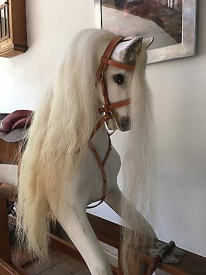 Collinson Vintage Wooden White Rocking Horse Antique Large Renovated Arab