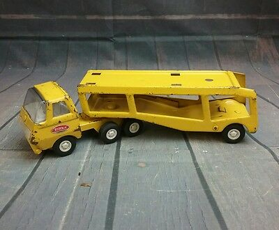 VINTAGE 1960s Tonka Toys Yellow Pressed Steel Car Hauler Transport Toy Truck