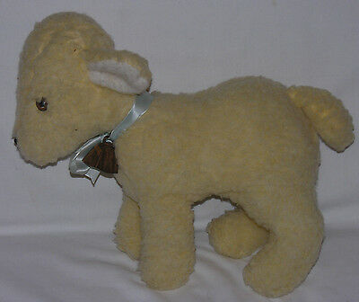 """Vintage Eden Woolly Lamb Plush Toy Stuffed Animal with Copper Bell 14"""" X 13.5"""""""
