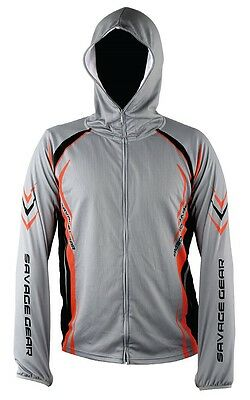 SAVAGE GEAR Sunprotect Zip Hoodie -Größe wählbar- Tournament Shirt UV 30+