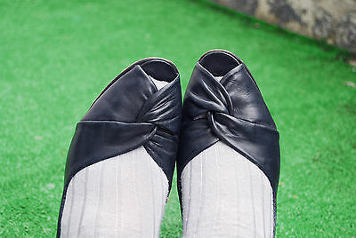vtg retro pin up low heel twist front real leather navy open toe shoes 39 6