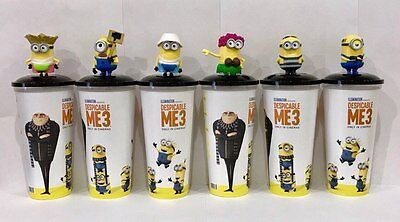 Cup topper figur Despicable Me 3 Full Set Minions + collectible movie cups