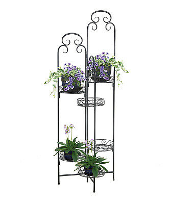 Folding Metal Plant Stand Home Office 6 Flower Pots Display Rack Holder Black