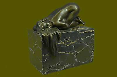 Elegant Female Nude  EXOTIC Dancer Glamorous Bronze Marble Statue Sculpture Art