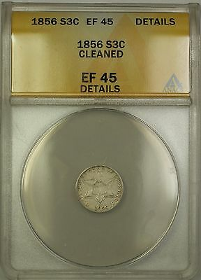 1856 3c Silver Three Cent Coin ANACS EF-45 Details Cleaned PM
