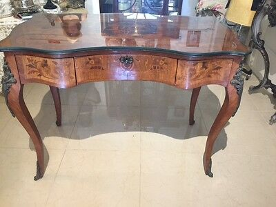 Antique Style Mahogany Desk Marquetry Inlay French Style Made USA or Vanity