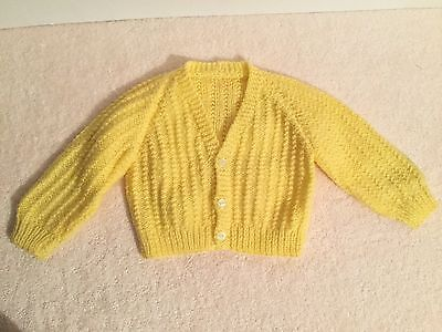 Hand Knitted Baby Infant Button Up Cardigan Jacket Yellow Size 00